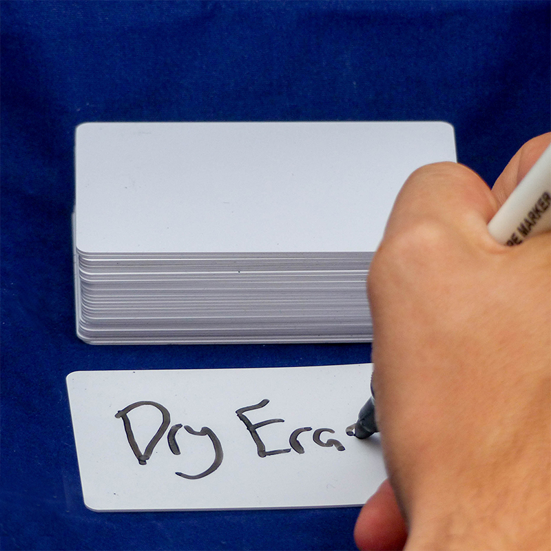 Dry Erase Cards being used as Reusable Flashcards
